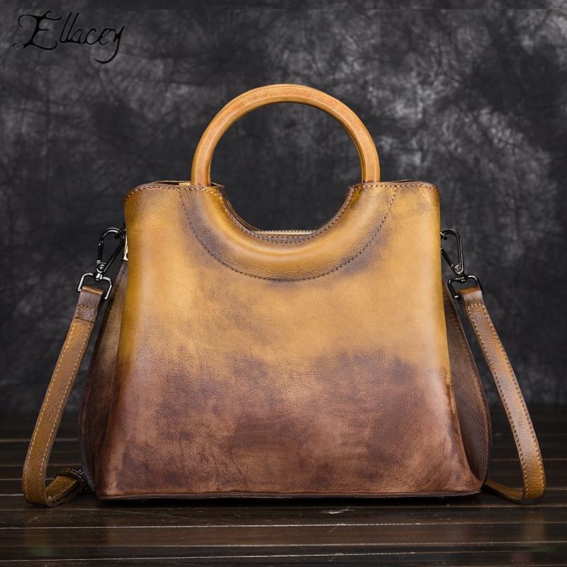 Vintage Luxury Panell Shoulder Bag New Large Capacity Genuine Leather Messenger Bag Wood Round Handle Women Handbags