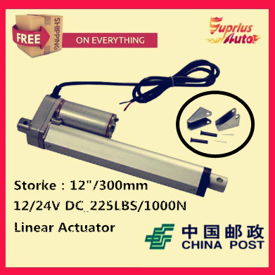 цена на Free Shipping high quality 12/300mm Stroke 12/ 24v electric linear actuator, Max Load 1000N/225LBS/100KGS linear actuator