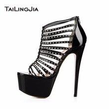 New Women High Heel Rome Sandals With Studs Platform Heels Rivets Shoes Black Sky-High Heels Ladies Open Toe Stilettos Plus Size цена 2017