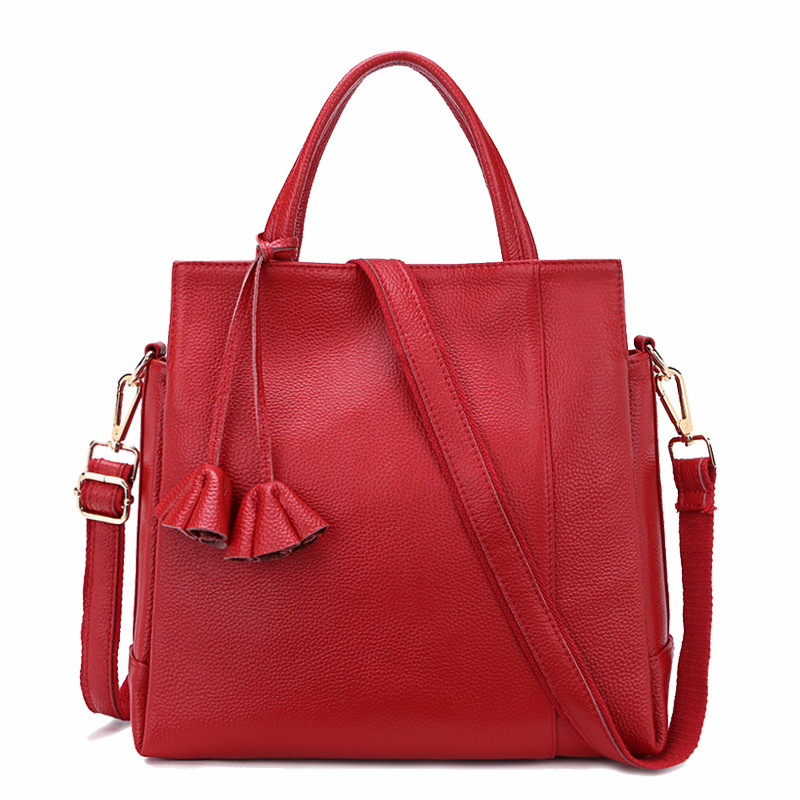 Ms. Europe and the United States top layer leather soft large capacity Litchi pattern handbags leather fashion shoulder diagonal europe and the united states style first layer of leather lychee handbag fashion retro large capacity solid business travel bus