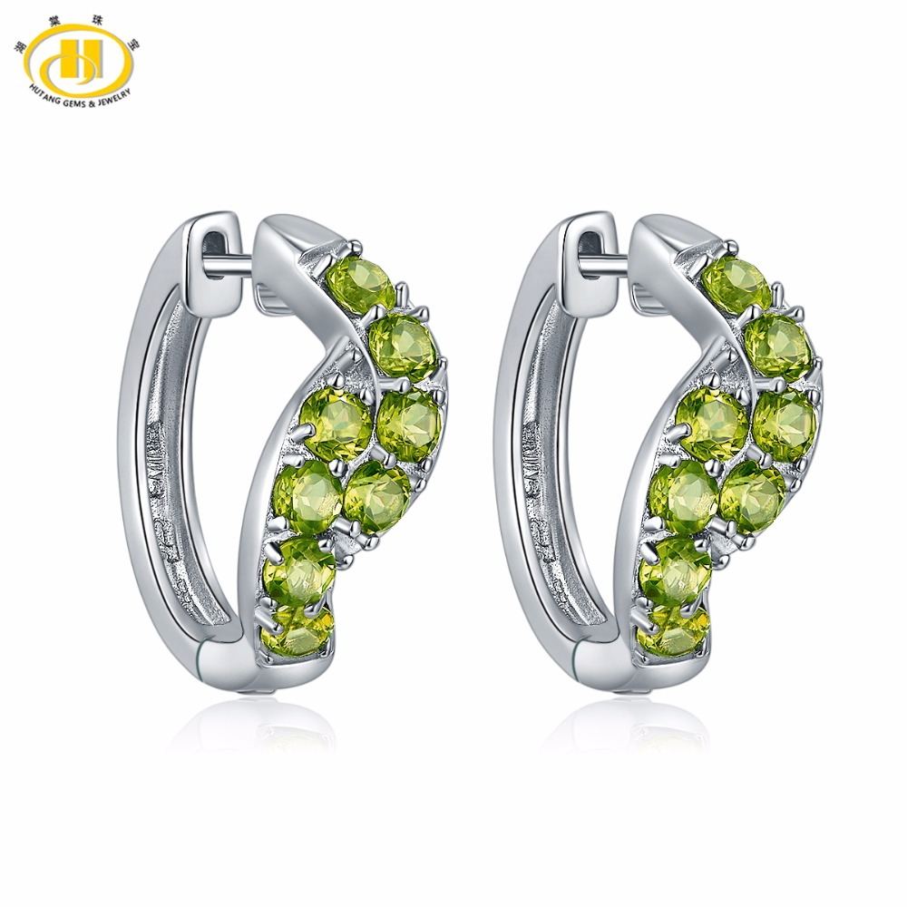 Hutang Stone Jewelry Earrings Made With 2.08ct Natural Gemstone Peridot Solid 925 Sterling Silver Fine Jewelry For Womens Gift