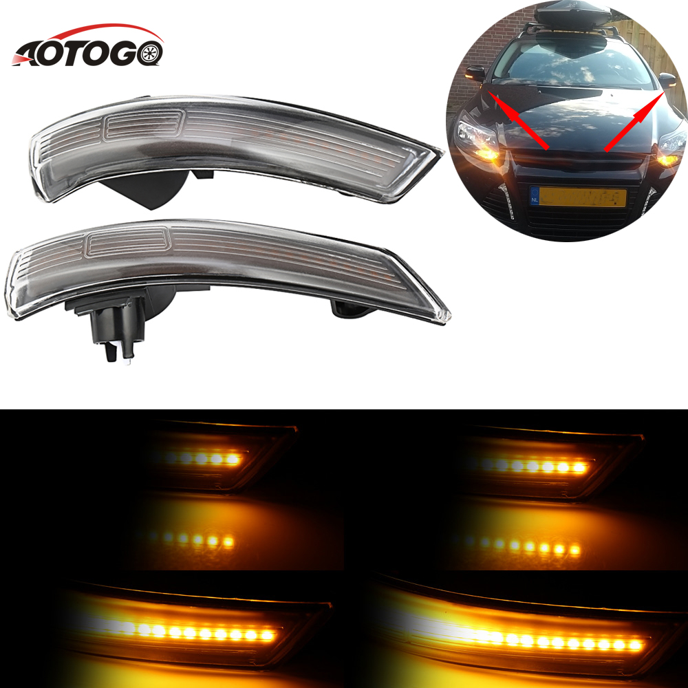 2pc Dynamic LED Turn Signal Light for ford focus 2009 2011 Side Mirror Blinker Light Car