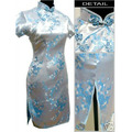 Summer Chinese Women's Silk Wedding Dress Qipao Vintage Short Cheongsam Flower Size S M L XL XXL XXXL 4XL 5XL 6X WC154