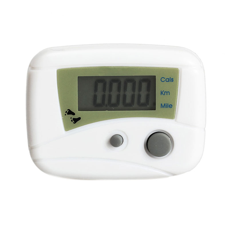 simitter01 Electronic LCD Run Step Pedometer Walking Distance Calorie Kilometer Miles Counter Passometer White