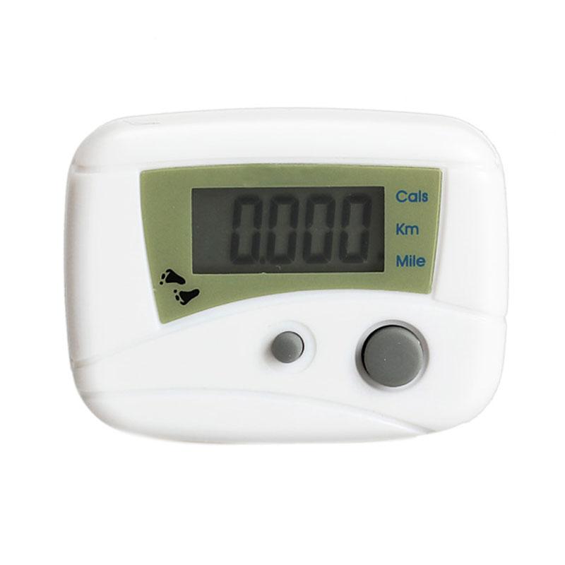 Electronic LCD Run Step Pedometer Walking Distance Calorie Kilometer Miles Counter Passometer White