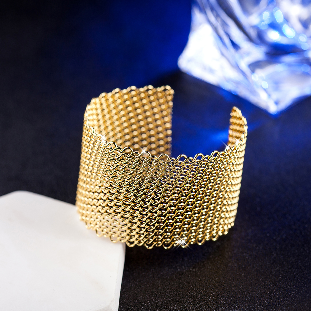 Fnixtar Top Quality Big Bangle Fashion Jewelry Gold Color Open Cuff Adjustable Bracelets For Women Jewelry Partys Accessories