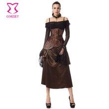 Brown /Black Steel Boned Underbust Corset Skirt Steampunk Clothing Espartilhos E Corpetes Emagrecimento Sexy Gothic Corset Dress
