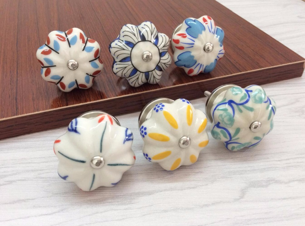 colorful kitchen cabinet knobs ceramic knobs dresser knob colorful flower cabinet pulls 13705