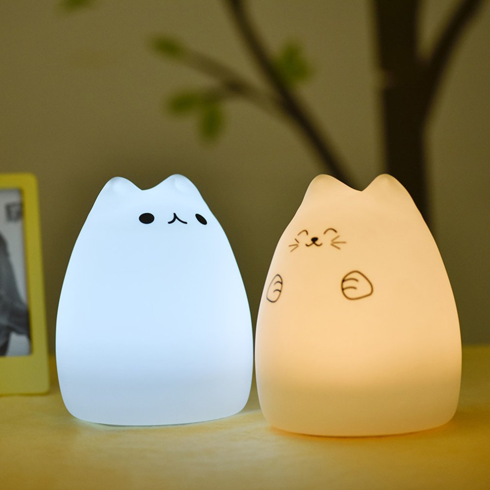 Creative USB LED Light Cute Kitten Night Light Soft Silicone Cartoon Breathing 7 Colors Remote Control LED Lamp