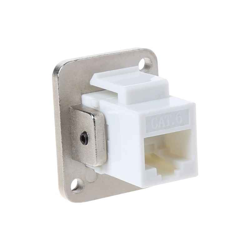 RJ45 D-type Socket Network Connector Module Metal Panel Mounting CAT5E CAT6