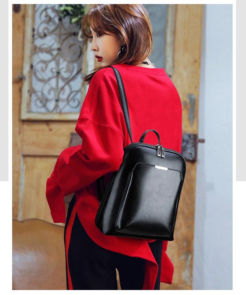 HTB1PQkgR7zoK1RjSZFlq6yi4VXav 2019 Women Leather Backpacks For Girls Sac a Dos School Backpack Female Travel Shoulder Bagpack Ladies Casual Daypacks Mochilas