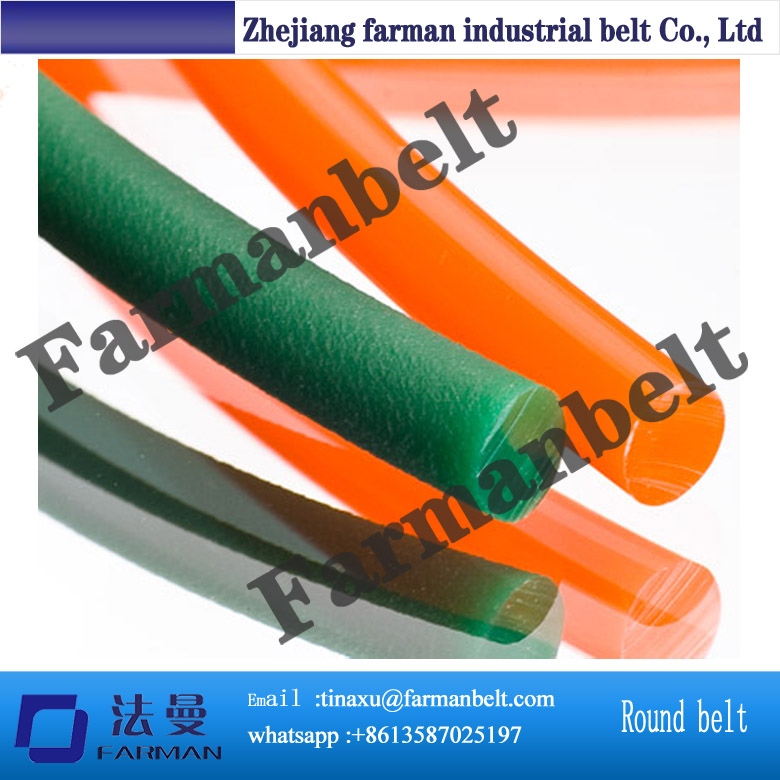 diameter 5mm green PU round belt Industrial synchronous belt driving belt conveyor belt green orange transparent pu round belt polyurethane drive belt smooth and rough surface for sale