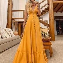 Robe longue à manches courtes et col en v pour femmes, tenue à boutons, à la mode, #1
