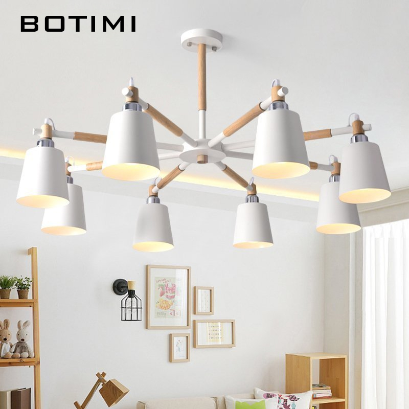 BOTIMI Lustre Solid Wood Chandelier For Living Room Iron Lampshade LED Chandelier Lighting Lustres Para Sala De Jantar Home Lamp-in Chandeliers from Lights & Lighting