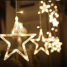 abay 2M Romantic Fairy Star Led Curtain String Light Warm white EU220V Xmas Garland Light For Wedding Party Holiday Deco