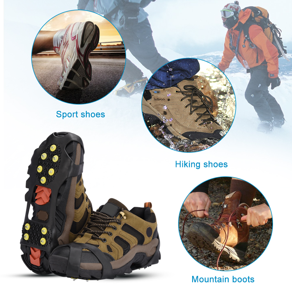 Elino 1 Pair Ice Snow Anti Slip Shoes Gripper Spikes 10 Studs Climbing Grips Crampons Cleats for Winter Shoes Boots Cover 1 pair ice gripper slipproof strong ice crampons skiing crampons shoes snow walker for snow mountain climbing walking bag