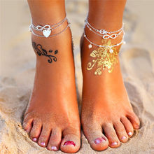 17KM Boho Anklet Bracelets 2019 For Women Vintage Silver Heart Infinite Silver Anklets Set Beach Bohemian Jewelry Drop shipping(China)