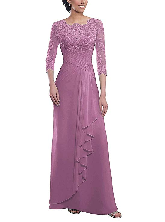 2019 Women's Long Mother Of The Bride Dresses Chiffon Pleated Lace Vestido Madrina