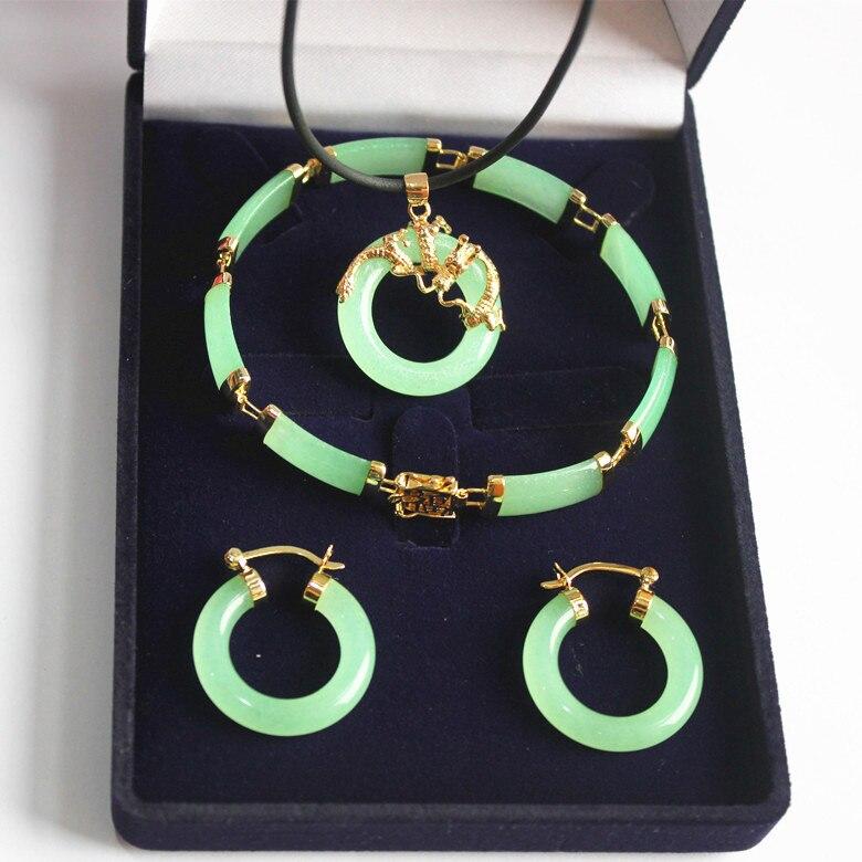 Новинка! Женский благородный прекрасный зеленый нефритовый дракон кулон и серьги браслет комплект ювелирных изделий