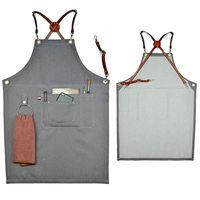 Gray Denim Bib Apron W Leather Strap Barber Barista Florist Bartender BBQ Chef Uniform Tattoo Shop