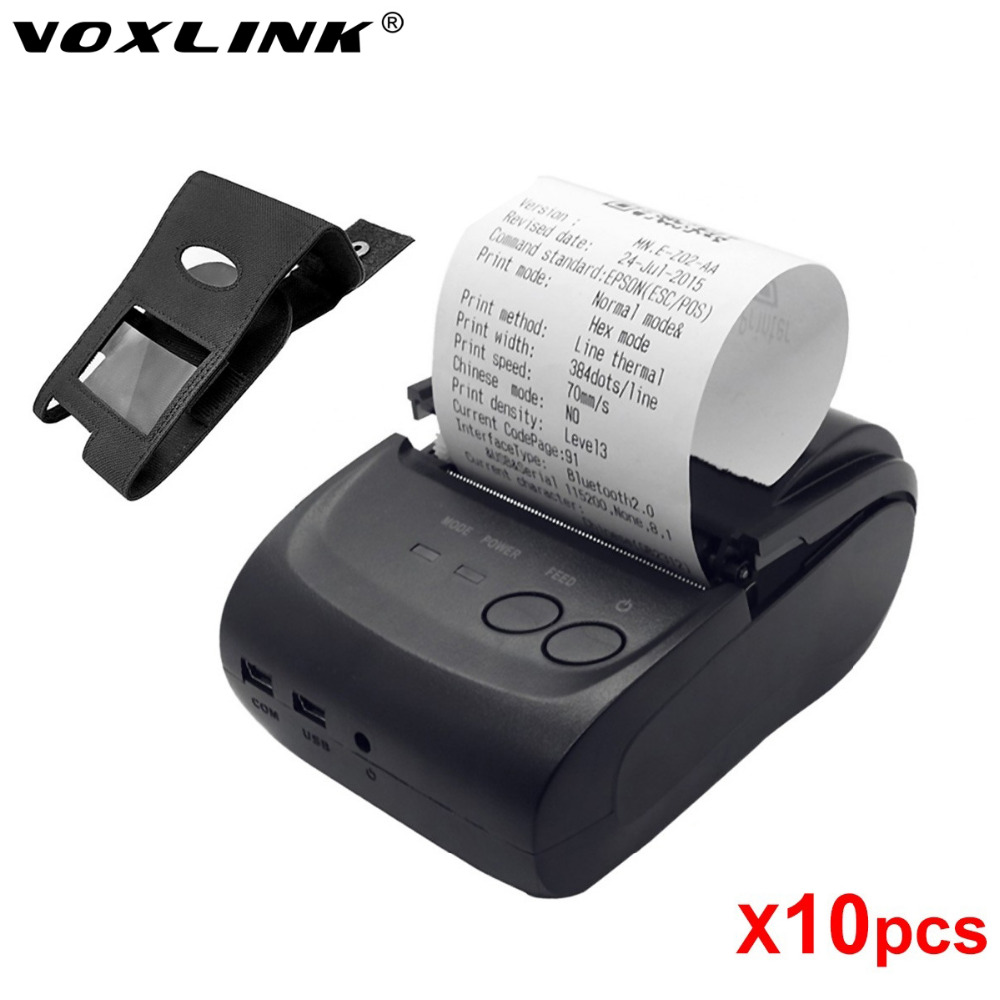 10pcs/lot Bluetooth thermal printer VOXLINK 58mm Mini Portable Wireless Receipt Thermal Printer for IOS Android PC Tablet DHL goojprt mtp ii 58mm bluetooth thermal printer portable rechargeable wireless receipt machine for windows android ios 80mm s