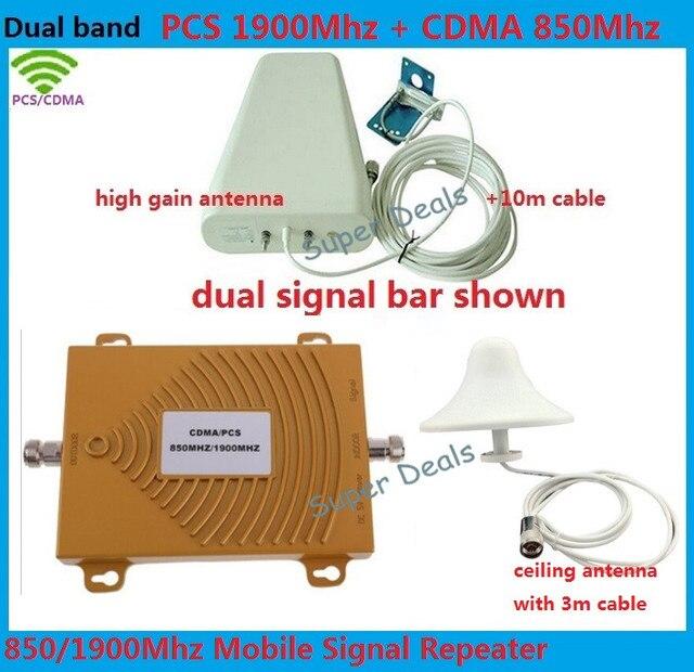 Мини Двухдиапазонный Мобильный 3 Г Телефон Усилитель Сигнала 850 МГц 1900 CDMA PCS Сигнала Репитер Сотовый Телефон Усилитель Сигнала с Антенной