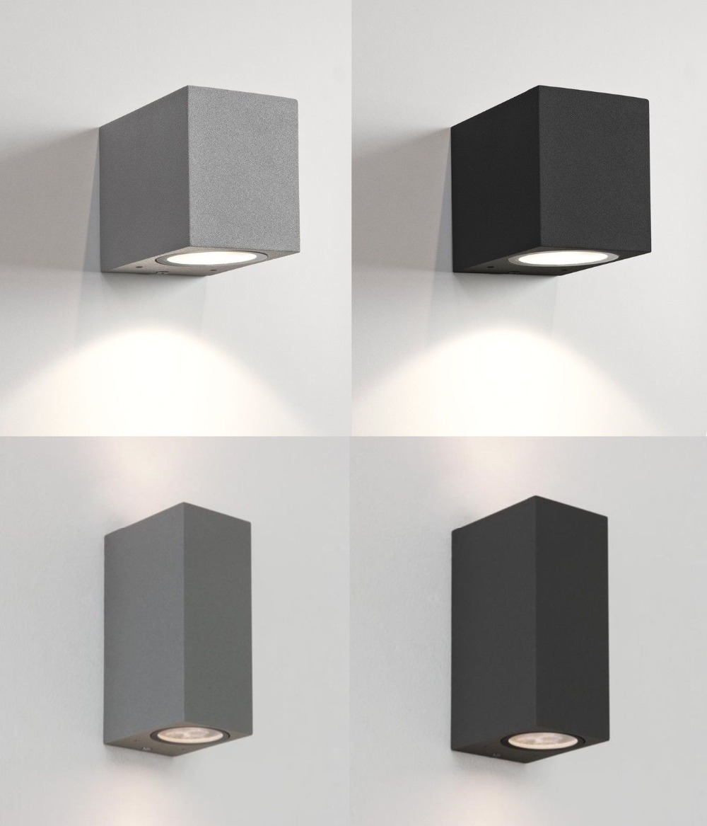 Square Or Semicircle Outdoor Wall Lights Up Down Halogen