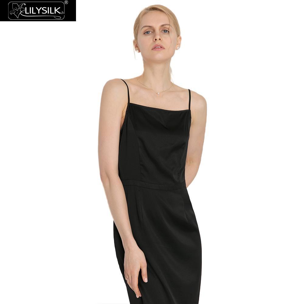 Soie Cami Black Extensible Lilysilk Gratuite 19mm Livraison Dames Robe Liquidation claret Femmes EnqxwgF