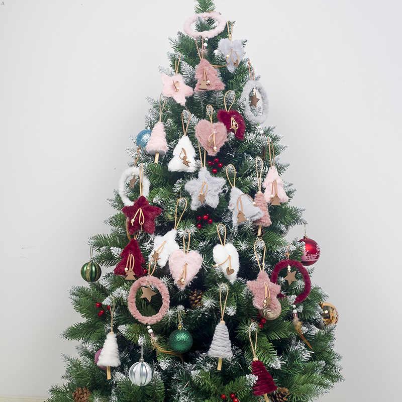5 teile/satz Kreative Plüsch Weihnachten Baum Hängen Anhänger Rosa Weiß Herz Stern Feder Ornament Weihnachten Dekoration für Home Weihnachten