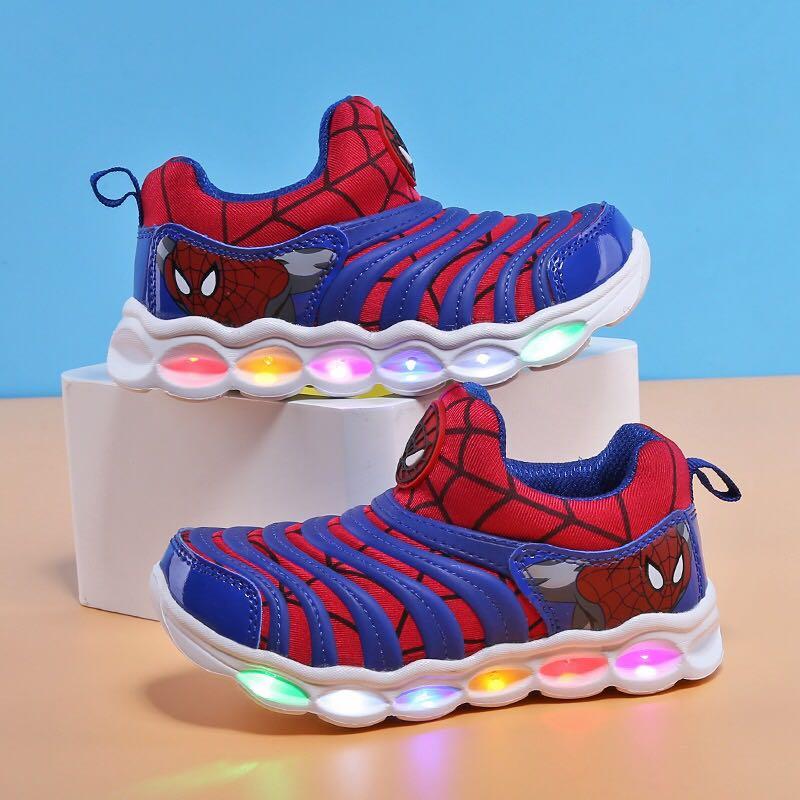 Kids Led shoes Light up Spiderman Boys