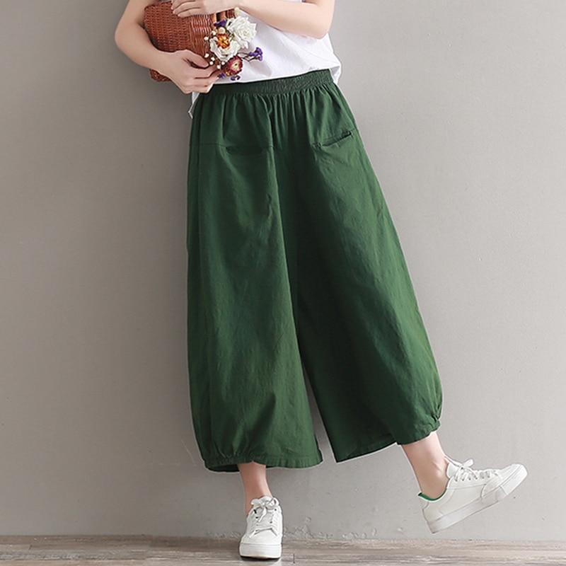 Woman Casual Trousers Cotton Linen Pants Loose Trousers Wide Leg Pants Elastic Waist Vintage Womens Harem Thin Pants