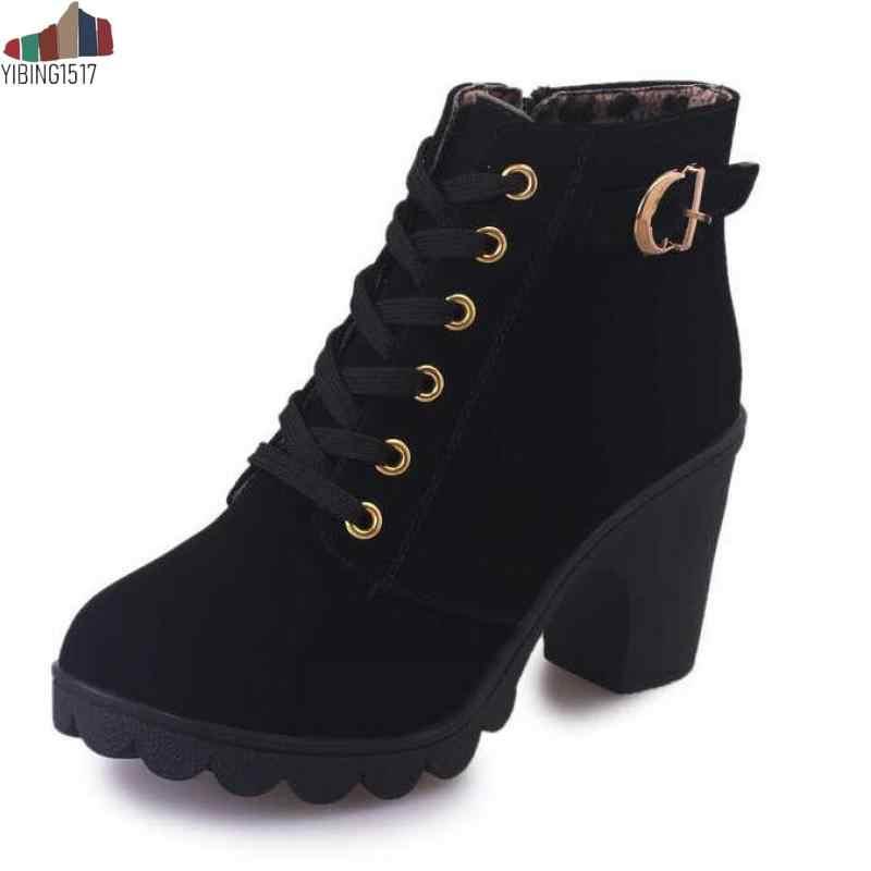 YIBING1517 Artı Boyutu 35-43 Kış Rahat Kadın Sıcak yarım çizmeler Su Geçirmez Yüksek Topuklu Kar Martin Ayakkabı Botas Patent Botas mujer