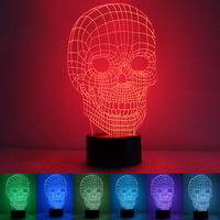 Free Shipping Unique 3D Special Skeleton Shape LED Table Lamp with USB Power