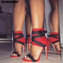TINGHON  Summer Gladiator Women Sandals Sexy Pumps 11cm Party Shoes Buckle Strap Heels Red White Black Wedding shoes