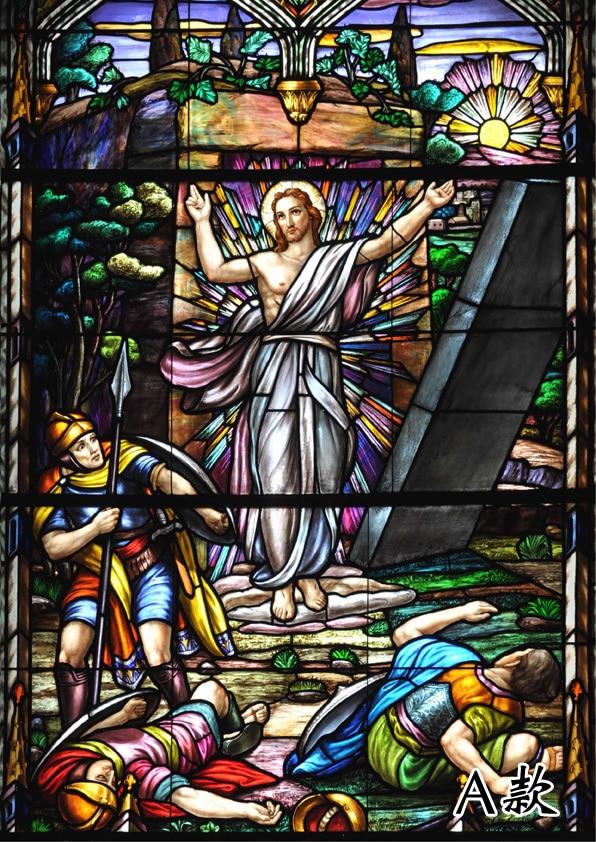 Taille personnalisée auto-adhésif ou statique s'accrochent décoratif givré confidentialité window film teinté verre autocollants Jésus Christ