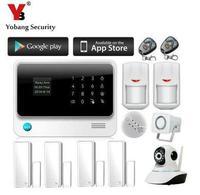 Yobang безопасности 2.4 г Wi-Fi GSM GPRS SMS беспроводной сигнализации дома охранной сигнализации с сиреной 720 P Wi-Fi ip-камера детектор дыма
