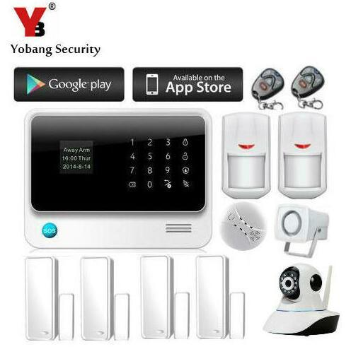Yobang Security 2.4G WiFi GSM GPRS SMS Wireless alarm Home Security intruder alarm with siren 720P Wifi IP Camera Smoke Detector
