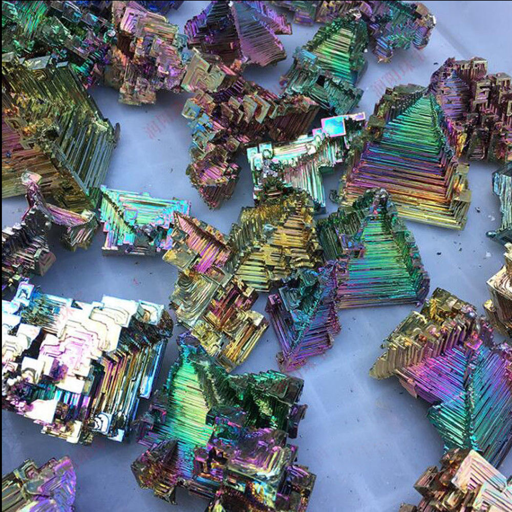 Wixine 1Pcs Rainbow Titanium Bismuth Specimen Mineral Gemstone Crystal Mineral Rock