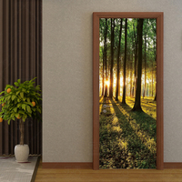 Modern Green Forest PVC Wallpaper 3D Nature Landscape Self Adhesive Waterproof Door Sticker Living Room Home Decor Wall Papers