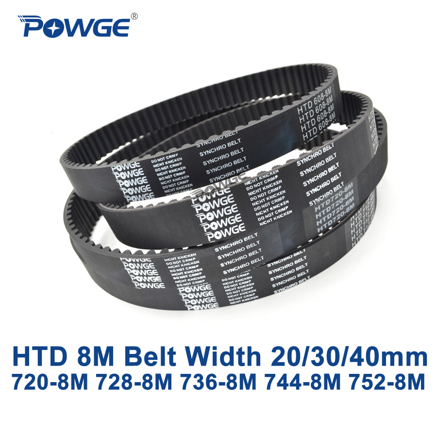 POWGE HTD 8M synchronous belt C=720/728/736/744/752 width 20/30/40mm Teeth 90 91 92 93 94 HTD8M Timing Belt 720-8M 736-8M 752-8M paulmann 93 728
