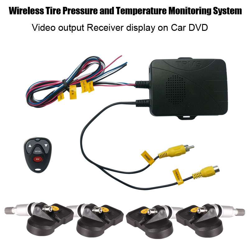 Tire Pressure Monitoring System TPMS for Car DVD with Internal Sensors Support High Low Pressure Temperature Alarm