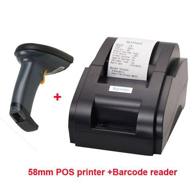 Escáner de código de barras de puerto usb y Puerto usb impresora térmica de 58mm impresora de recibos térmicos impresora pos