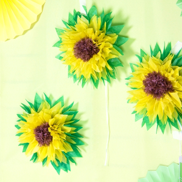 Us 4 48 10 Off 30cm Set Of 3 Tissue Paper Sunflowers Decor Gerbera Daises For Ice Cream Party Bridal Shower Wedding Party Baby Shower Birthday In