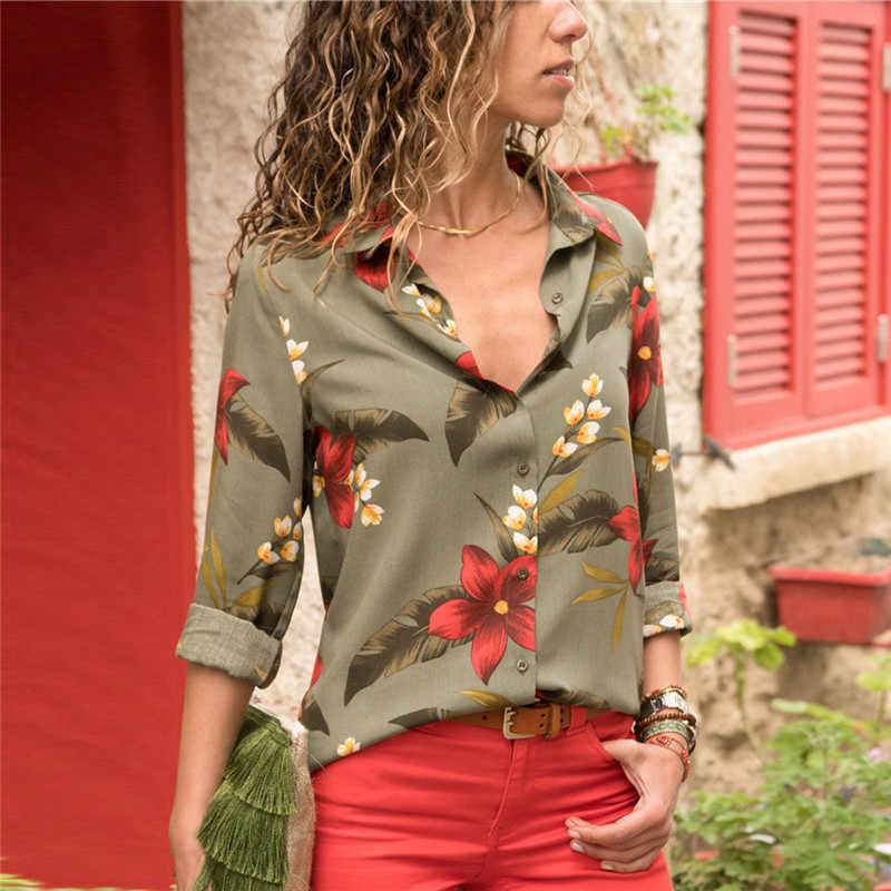 女性ブラウス 2019 ファッション長袖ターンダウン襟オフィスシャツレジャーブラウスシャツカジュアルトップスプラスサイズ Blusas Femininas