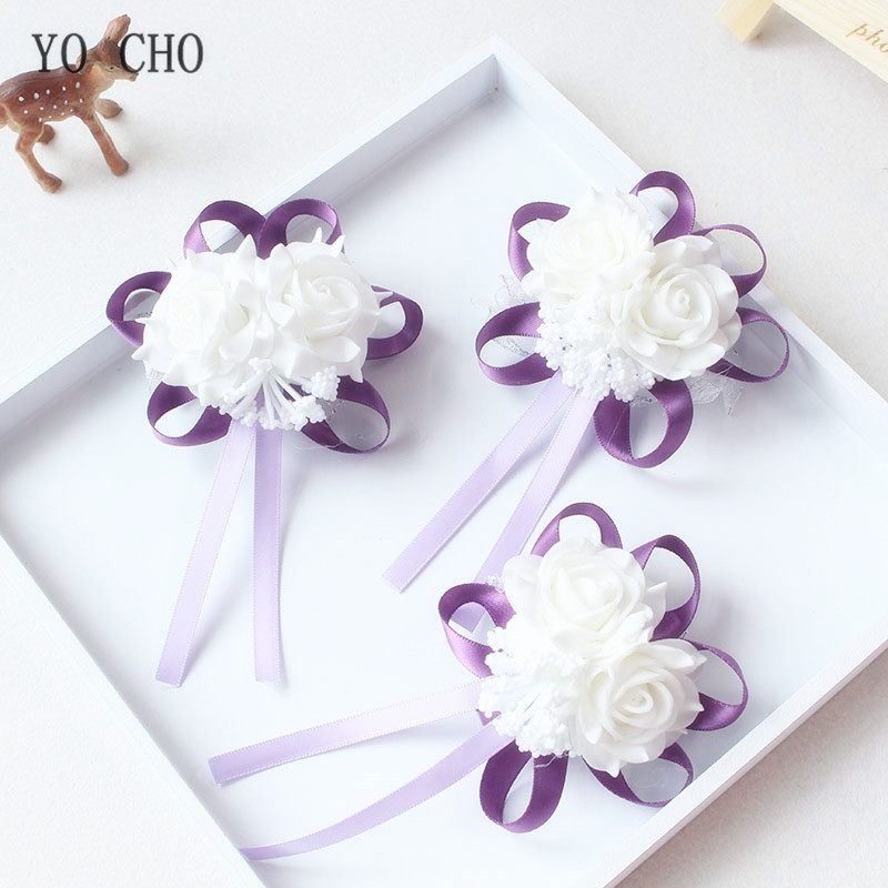 YO CHO Handmade Foam White Rose Wrist Flowers For Bridesmaid Wrist Corsage Bracelet Band Wedding Accessories Bridal Wrist Flower