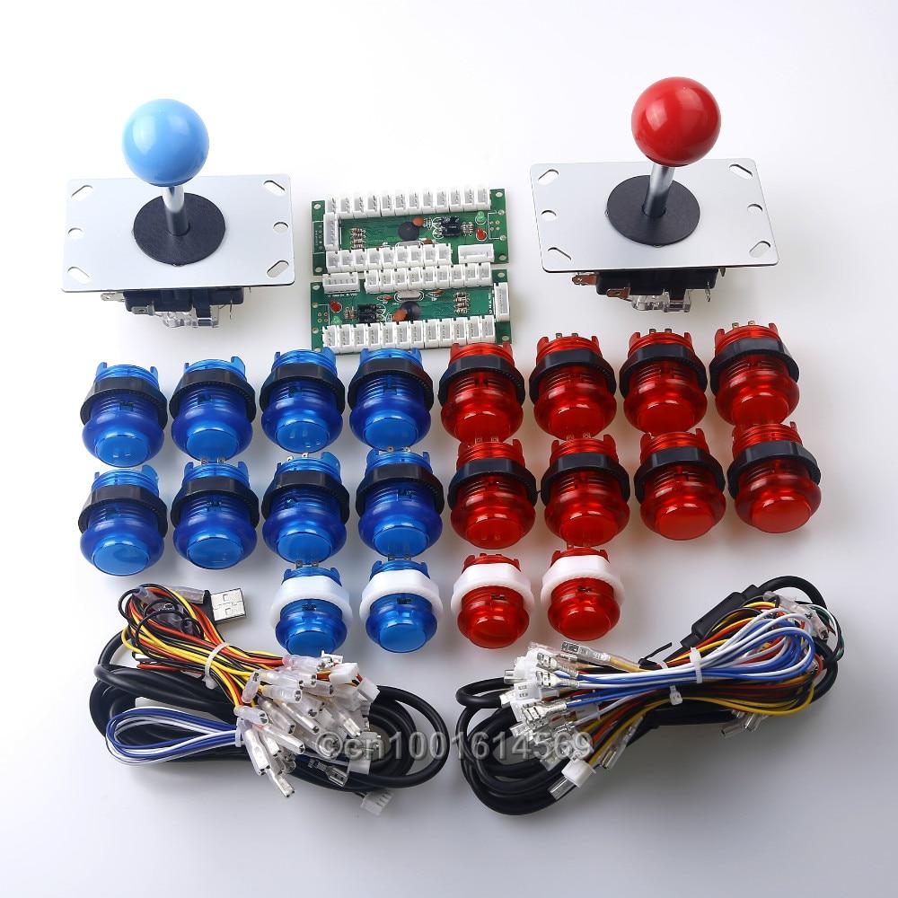 New 20x Arcade DIY Bundle Kits 5V LED Illuminated Push Buttons+ 2 Pin 8 Way Joysticks + Zero Delay USB Encoder With Micro switch new mini arcade machines diy kits parts zero delay encoder circuit board