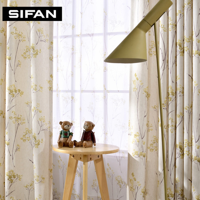 Floral Linen Curtains Fancy Window Blackout Curtains for the Bedroom ...