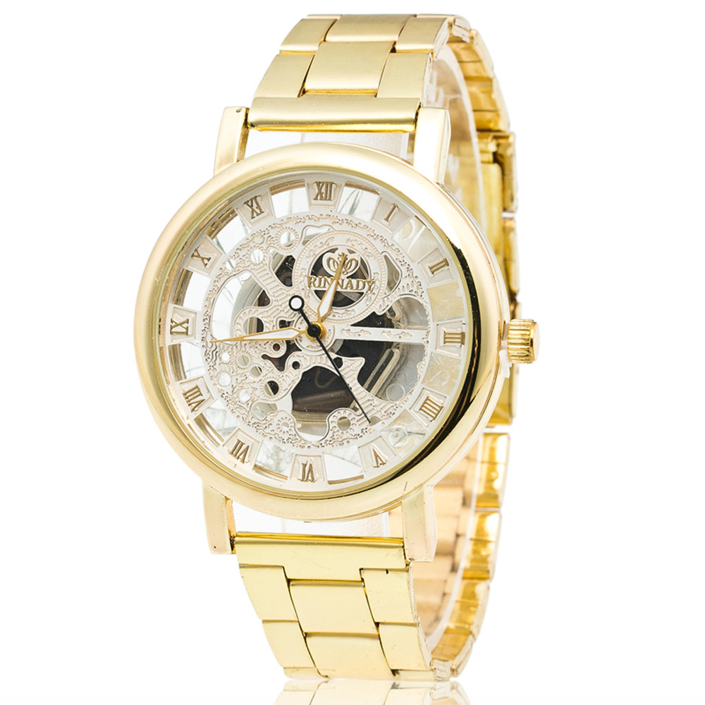 Luxury Mens Women Watch Gold Stainless Steel Business Hollow Quartz Wrist Watch For Man Ladies Golden Dress Casual Gift Clocks