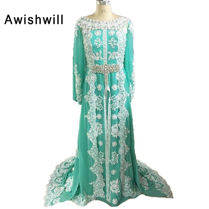 100% real photo Marokkaanse kaftan jurk lange mouwen kralen kant - Jurken voor bijzondere gelegenheden - Foto 4
