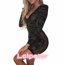 New Women Fashion Sexy Glittering Sequins Deep V Bodycon Mini Dress Long Sleeve Patchwork Dresses Vestidos Mujer Laipelar